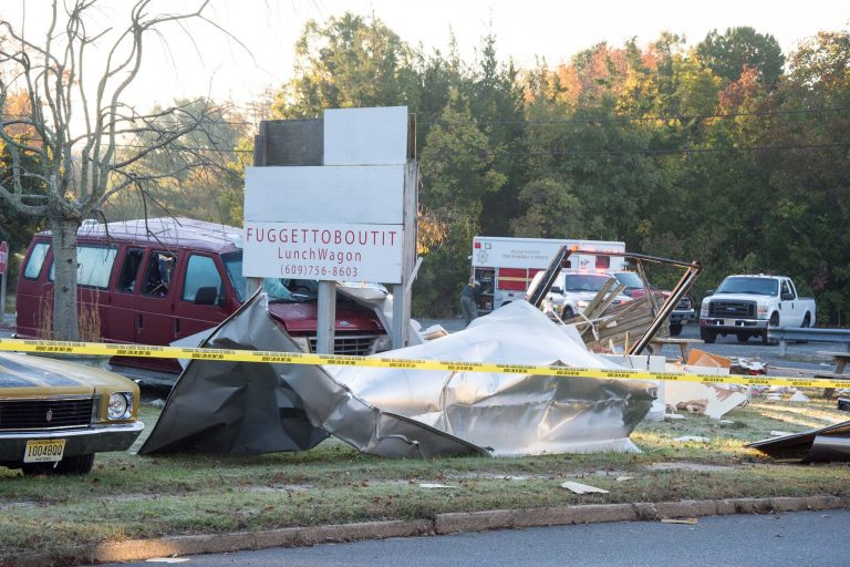 Debris surrounding a hot dog truck destroyed by an explosion early this morning in Tuckerton. (Photo: JSHN contributor Roman Isaryk)