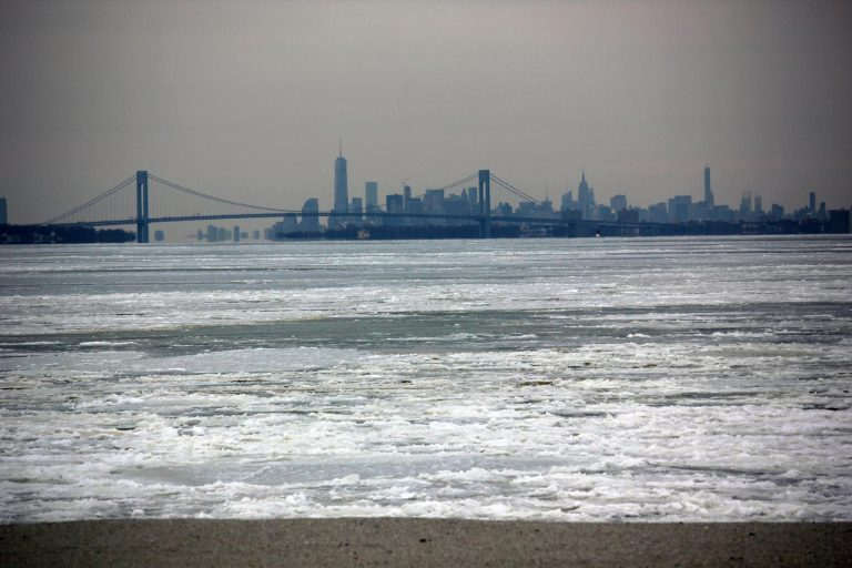 The Raritan Bay and New York City as seen from Port Monmouth, NJ on Feb. 16, 2015. (Photo: JSHN contributor April Schelling)