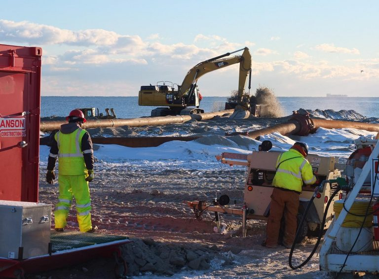 Crews working in the brutal cold in Long Branch on Sunday, January 26. (Photo: Richard Huff via Jersey Shore Hurricane News)