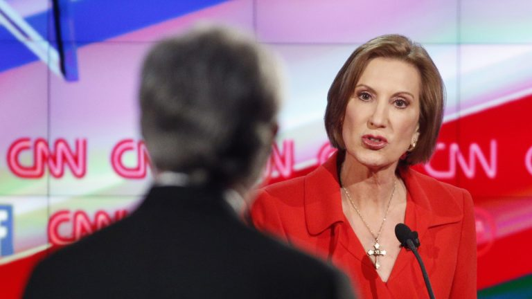 Carly Fiorina responds to debate moderator Wolf Blitzer during the CNN Republican presidential debate at the Venetian Hotel & Casino on Tuesday, Dec. 15, 2015, in Las Vegas. (AP Photo/John Locher)