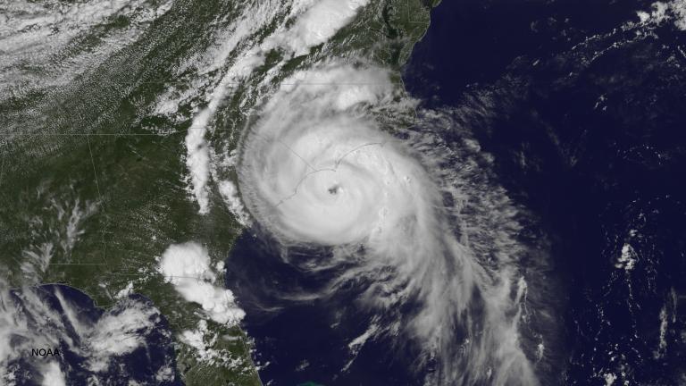 A NOAA satellite image of Hurricane Arthur on July 3, 2014. (Credit: NOAA.)