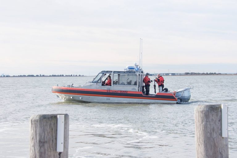 A U.S. Coast Guard boat searching for a missing fisherman in Tuckerton yesterday. (Image courtesy of Roman Isaryk)