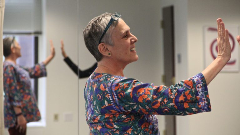 Dance therapist Elizabeth Templeton helps clients cope with the after effects of traumatic birth experience. (Emma Lee/WHYY)