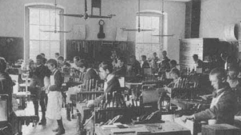 This was what shop classes looked like back in 1892 at the Dwight School in Boston. Teaching young people to use tools readied them for a modernizing economy. Today some school administrators are rethinking the shop class and opting to convert them into digital labs to train kids on the tools of the next economy. 