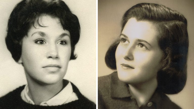 From left: Joan Leof and Tikva (née Polsky) are shown in their 1960 high school senior year book photos. (Image courtesy of Joan Leof)