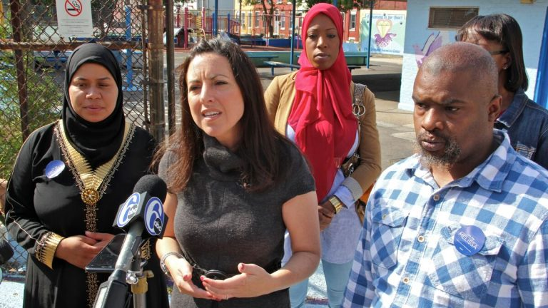 Republican mayoral candidate Melissa Murray Bailey, second from left, says politicians are ignoring gun violence in Philadelphia. (Emma Lee/NewsWorks)