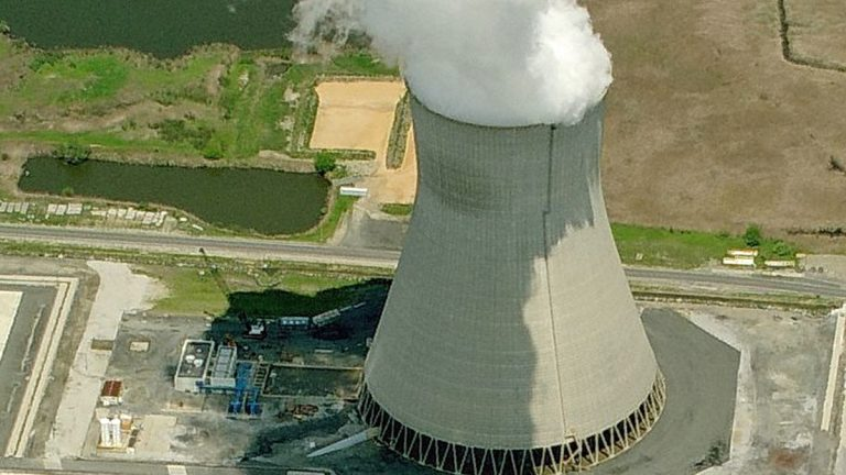 The cooling tower in Lower Alloways Creek Township. (Image from Bing Maps)