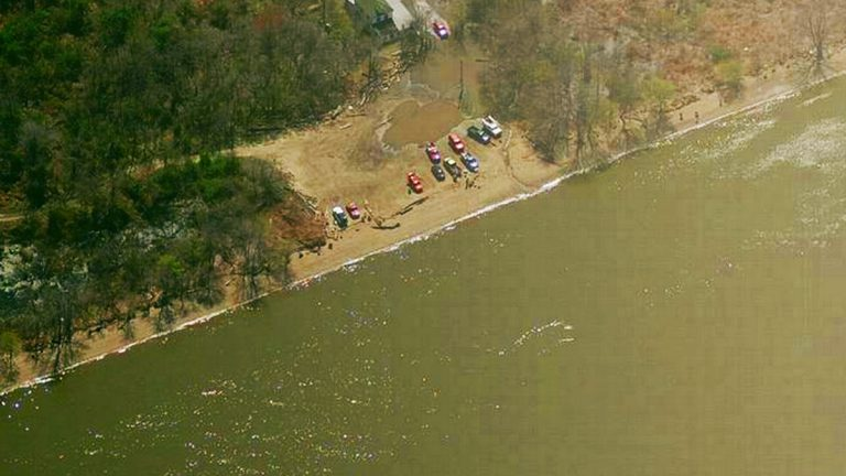 This aerial view shows a recreation area on the Delaware River near Beach Hill Road. (Image from Bing Maps)