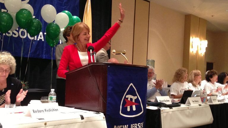 Democrat Barbara Buono appears at the New Jersey teachers union conference in East Brunswick. (Photo by Buono for Governor's Flickr page)
