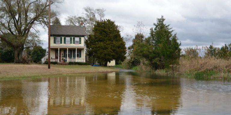 The water crept up on this house in Maurice River Twp. the morning after Superstorm Sandy. (Bas Slabbers/for NewsWorks)