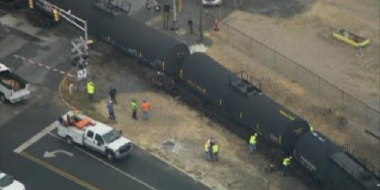 September 16, 2013: A train car goes off the tracks in Paulsboro at the entry to the Valero refinery in Gloucester County, New Jersey. (Photo by NBC10)