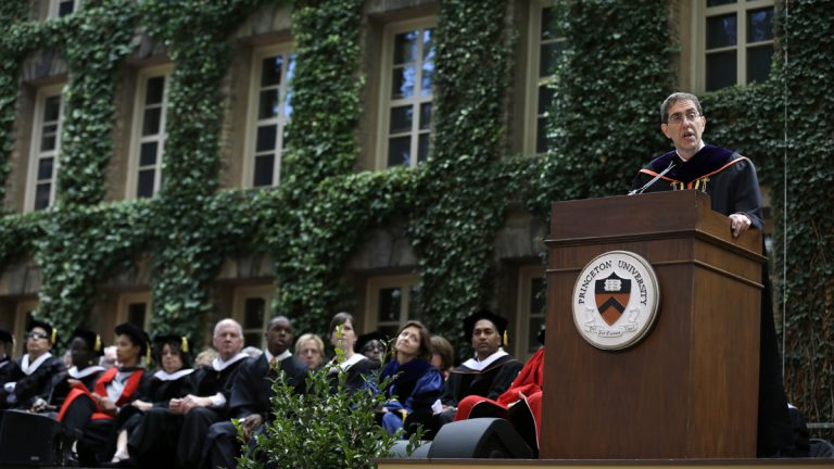 Christopher L. Eisgruber addresses a gathering at Princeton University, in Princeton, N.J., Sunday, Sept. 22, 2013 as he is installed as the Ivy League school's 20th president. (AP Photo/Mel Evans)