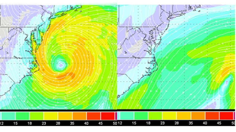 The latest ECMWF model run (left) shows the storm off North Carolina's Outer Banks at 6:00 p.m. Sunday. The strongest winds around 35-40 mph. But there's no storm in the latest GFS model run (right).