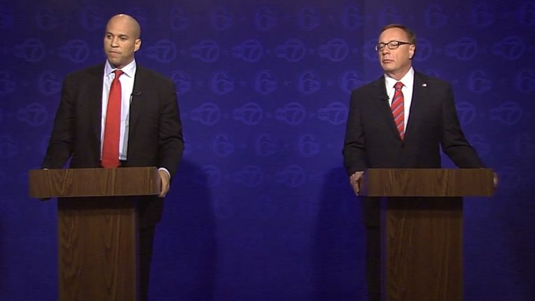 Cory Booker (left) and Steve Lonegan debated Friday in Trenton. (Screen capture from 6abc stream)