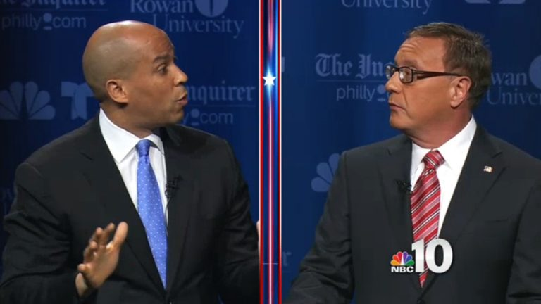 Democrat Cory Booker (left) and Republican Steve Lonegan disagreed on most issues. (Image via NBC10.com)