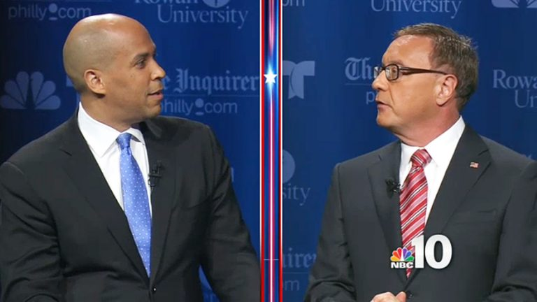 (Cory Booker (left) and Steve Lonegan met in two debates. This image is from Oct 9 at Rowan University. (Image via NBC10.com)