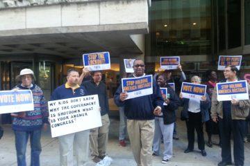 protestors outside Senator Toomey's office