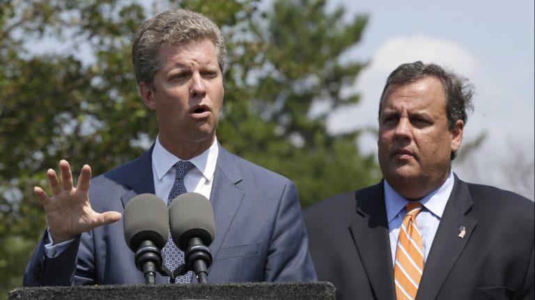 Housing and Urban Development Secretary Shaun Donovan, left, appeared with Gov. Christie on Aug 20, 2013 to promote a post-Sandy rebuilding plan.  (AP Photo/Julio Cortez)