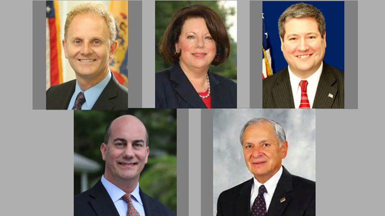 The major party candidates running in the 14th District. Top left, Wayne DeAngelo, Linda Greenstein, Dan Benson, Steven Cook and Peter A. Inverso (Image via NJ Spotlight)