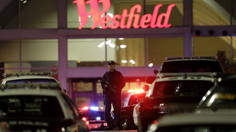 An official walks with a semi-automatic weapon on the parking lot of Garden State Plaza Mall following reports of a shooter last night in Paramus, N.J. (AP Photo/Julio Cortez)