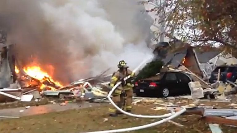 The aftermath of a house explosion. (Image via Cape May Herald video)