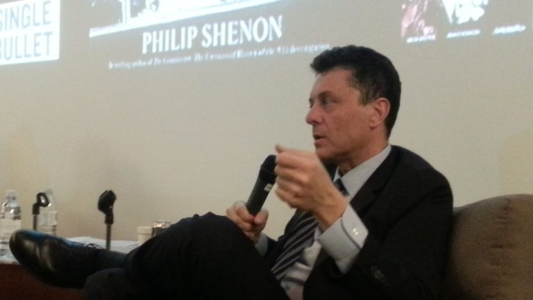 Philip Shenon speaking at Philadelphia University in East Falls on Monday night. (Aaron Moselle/WHYY)