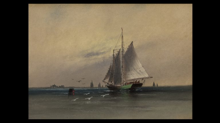 Two Masted Schooner near Tucker's Island, New Jersey. William G. Russell (b. 1869).Pastel on paper.