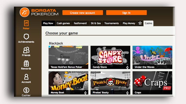 This is a partial view of Borgata's internet gambling website.