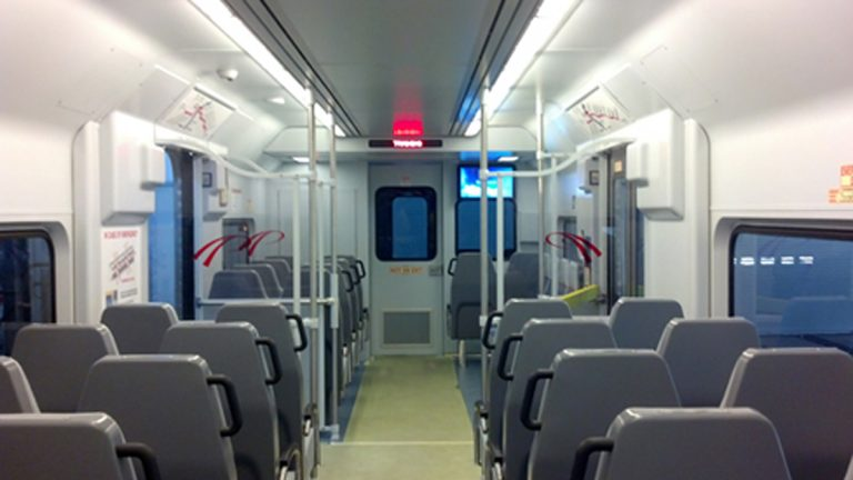 Single seats replace the benches in the new cars. (Photo courtesy of PATCO)