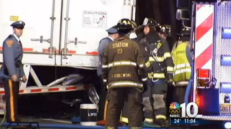 A car carrying four people slammed into this tractor-trailer early Thursday morning in Lawrence Twp. N.J. (Image courtesy of NBC10)