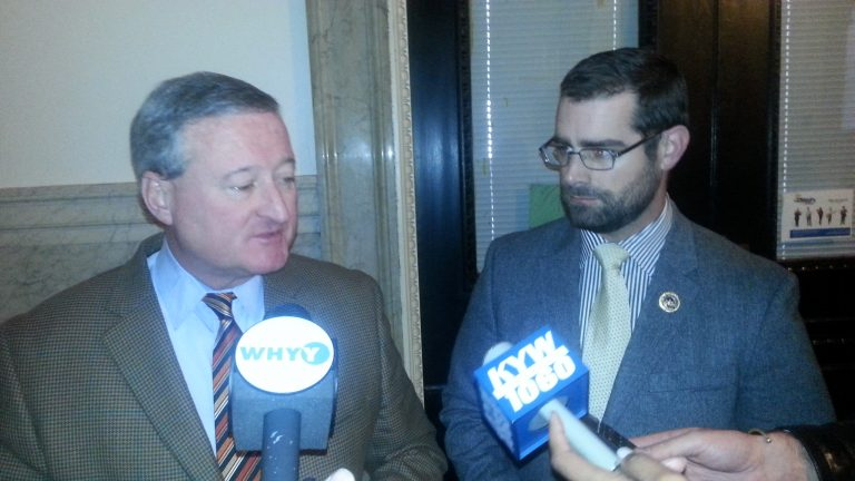 Kenney (L) and Sims (R) talk about bill