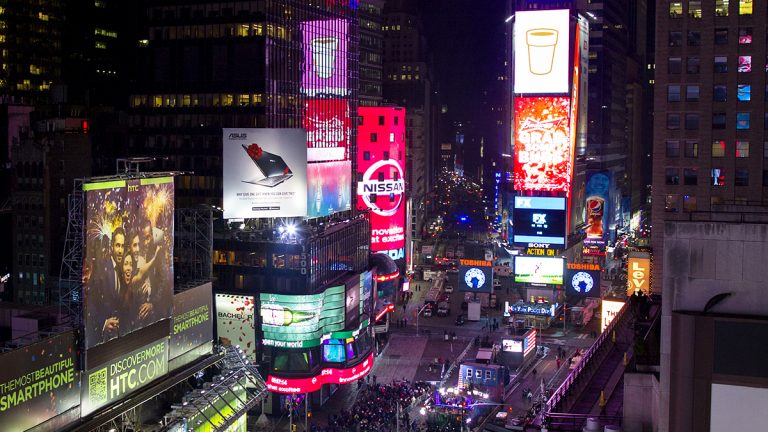 Times Square earlier tonight, Tues, Dec 31. 2013. (AP Photo/Craig Ruttle)