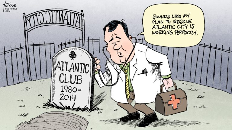 (The Atlantic Club casino is scheduled to close in January 2014. (Cartoon by Rob Tornoe)