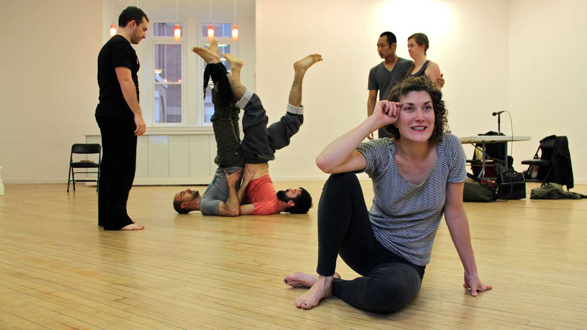 Members of Team Sunshine Performance Corporation rehearse for their First Person Arts Festival contribution, The Sincerity Project. (Emma Lee/for NewsWorks)