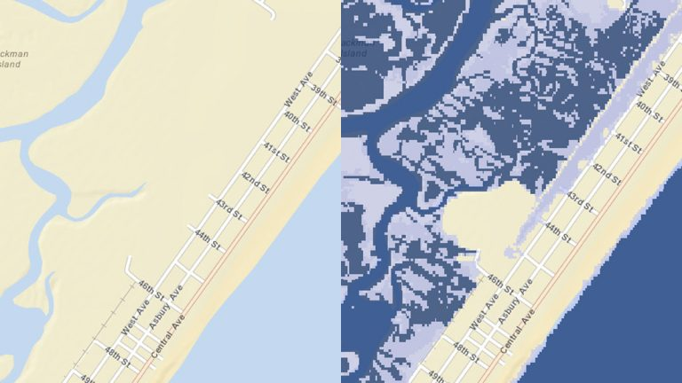 These images show how a 1-foot rise in the sea level in Ocean City will impact the area at high tide. (Source: Rutgers Flood Mapper)