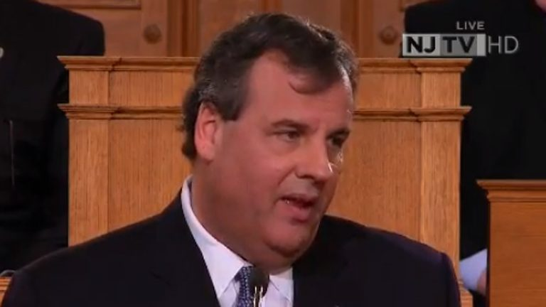 Gov. Christie speaking in Trenton on Jan 14, 2014. (Screen capture via NJTV)