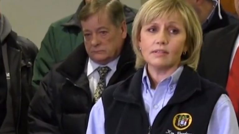N.J. Lt. Governor at a press conference this morning in Union Beach. (Image via video stream)