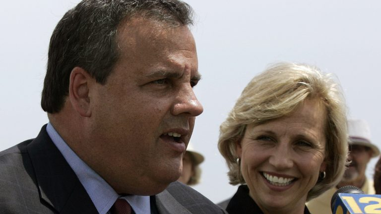 Candidate Christie in July 2009 announcing that Kim Guadagno will be his Lt. Gov running mate. (AP Photo/Mel Evans)