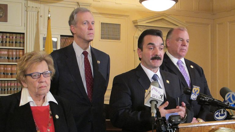 Democratic leaders in N.J. Assembly and Senate leaders announcing the merging of committees (Phil Gregory/for NewsWorks)