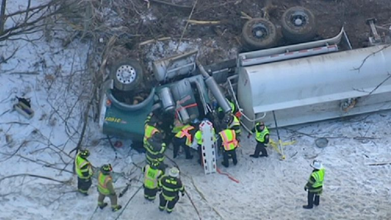 Overturned tractor-trailer off the NJ Turnpike. (Image via NBC10)