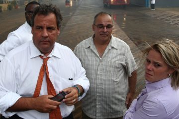 In this Sept. 12, 2013, photo Deputy Chief of Staff Bridget Anne Kelly, right, stands with Gov. Chris Christie, left, during the massive boardwalk fire in Seaside Heights.  (AP Photo/Office of Gov. Chris Christie, Tim Larsen, File)