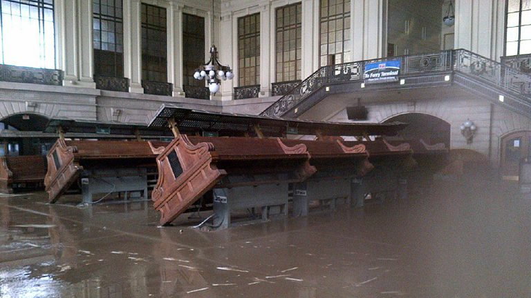 This is how the NJ Transit Hoboken Terminal looked after Superstorm  Sandy  (AP Photo/New Jersey Transit)