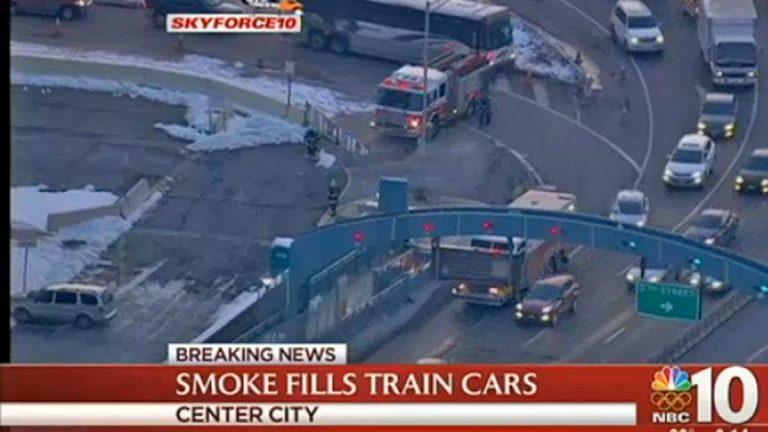 Fire trucks near the PATCO train on Philadelphia side of the Ben Franklin Bridge.