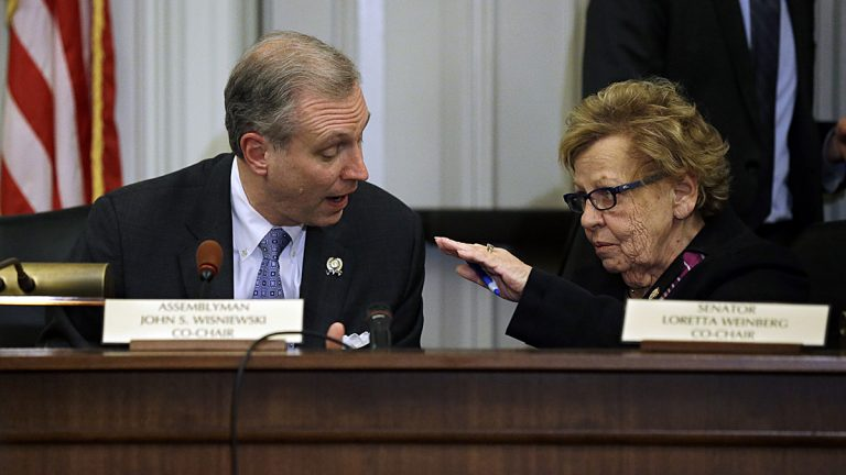New Jersey state Sen. Loretta Weinberg, right, and Assemblyman John S. Wisniewski, left, co-chair a legislative committee looking into Bridgegate. (AP Photo/Mel Evans)