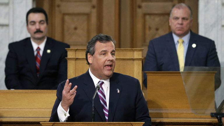 Gov. Chris Christie emphasizes a point as he delivers his budget address at the Statehouse Tuesday, Feb. 25, 2014, in Trenton, N.J. (AP Photo/Mel Evans)