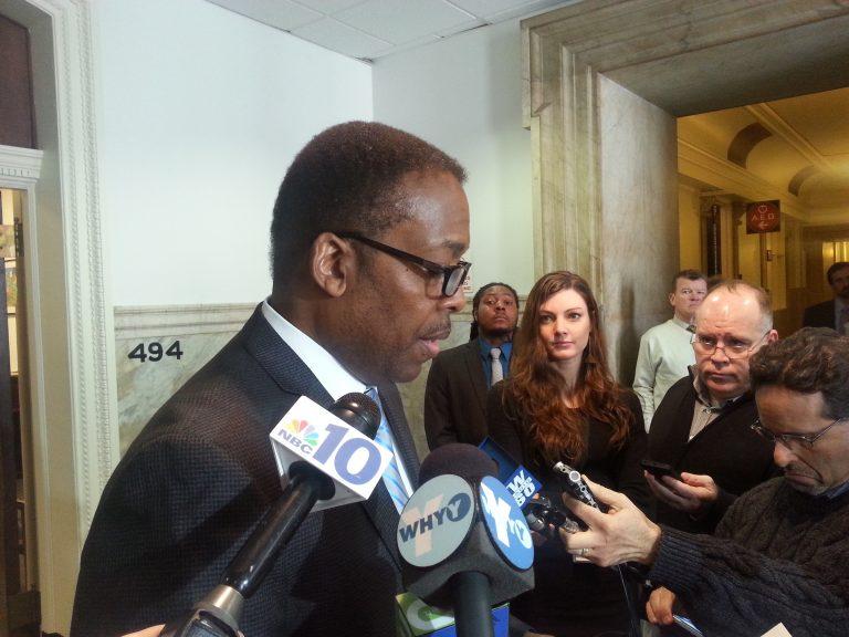 Council President Darrell Clarke talks to reporters (Tom MacDonald/WHYY)