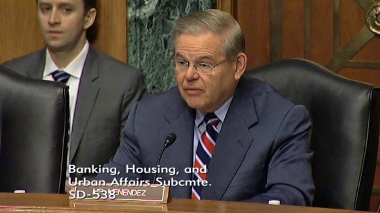 U.S. Senator Robert Menendez says N.J. officials mismanaged the distribution of federal Sandy aid money (Screen capture via Senate video feed)