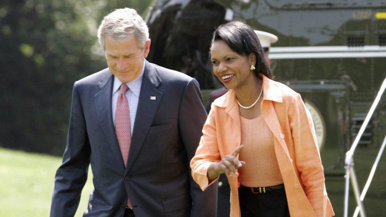President Bush and Secretary of State Condoleezza Rice in Washington, Sunday, Sept. 3, 2006. They were returning from Camp David. (AP File Photo/Gerald Herbert)