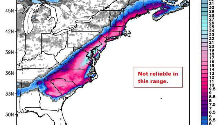 The weather model  from early Feb 2014 that started rumors of a 30 inch snow storm in New Jersey.