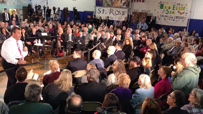 Gov Christie speaking to residents at a town hall meeting in Belmar, N.J.